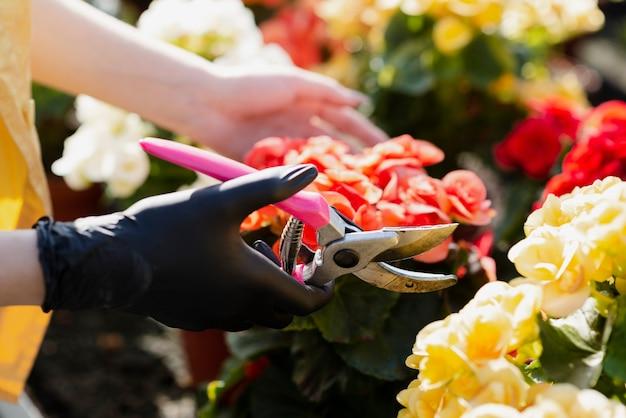 Крупным планом женщина ухаживает за цветами