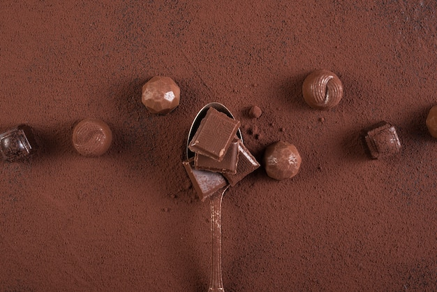 Ложка с шоколадными батончиками и какао-порошком