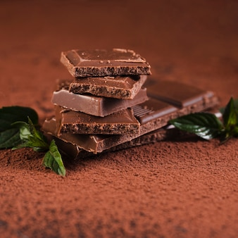 Закройте вверх плитки шоколада на какао-порошок