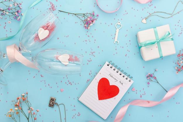 バレンタインデーのイベントのトップビューの配置