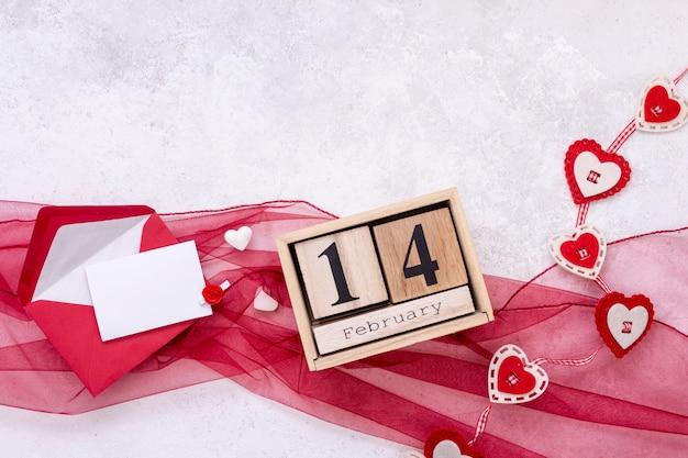 バレンタインデーのトップビューの配置