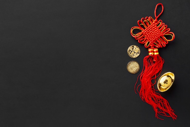 Вид сверху подвески на китайский новый год