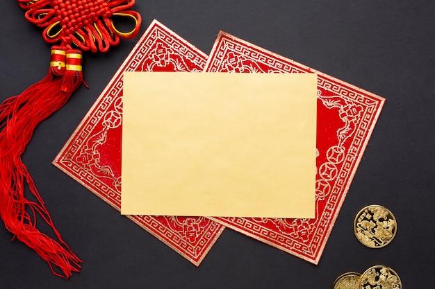 Золотой китайский новогодняя открытка макет