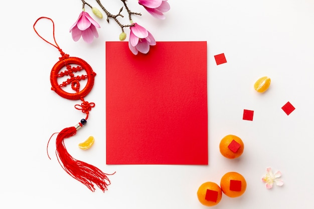 Магнолия и открытка макет китайский новый год
