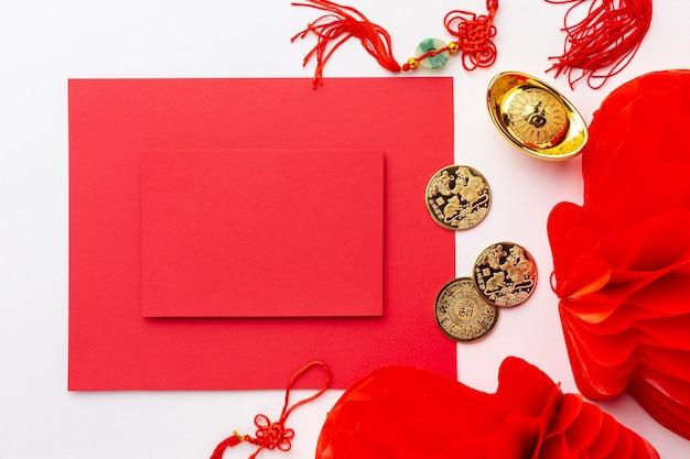Карточка макета и фонари китайского нового года