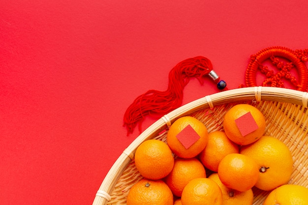 Вид сверху мандаринов китайского нового года