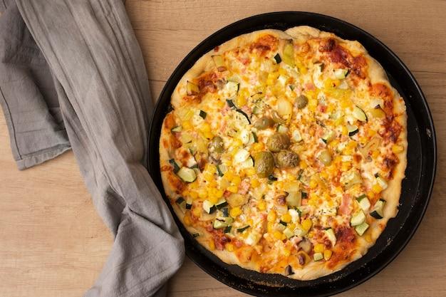 パンに平干し調理ピザ