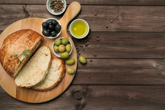 コピースペースを持つトップビュー自家製パン