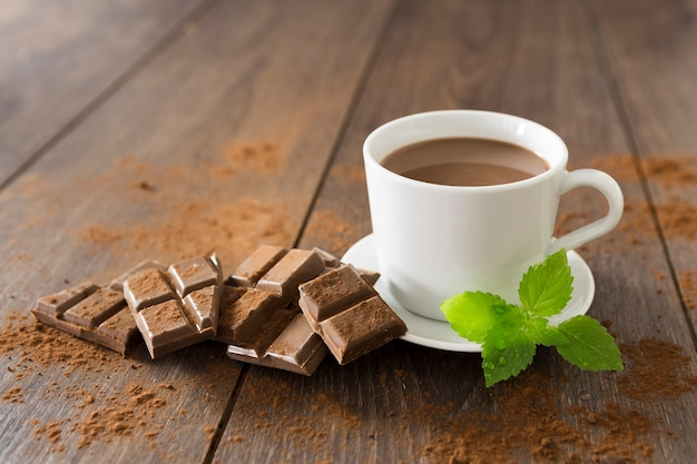 ミントとホットチョコレートのカップ