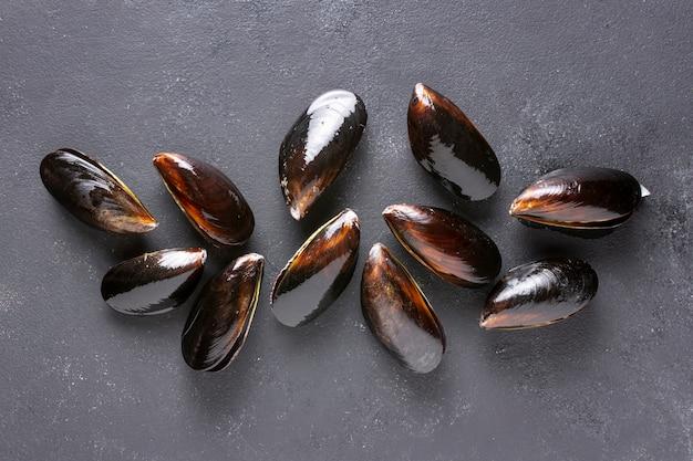 Макро вкусные раковины мидий
