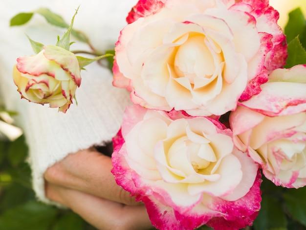 素敵な黄色とピンクのバラのブーケ