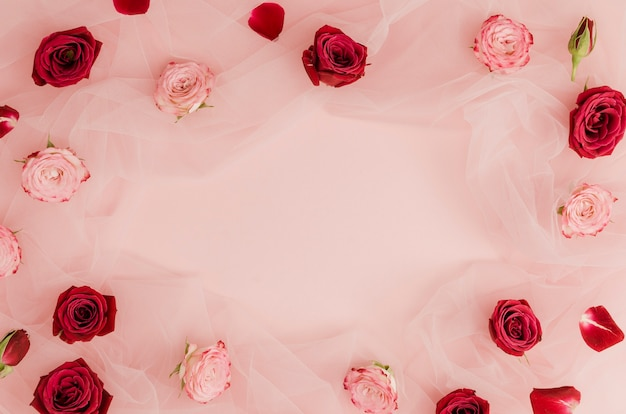 Красные и розовые розы копируют пространство