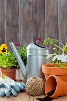 Вид спереди цветочные горшки и садовые инструменты