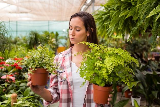 温室で植木鉢を保持している女性