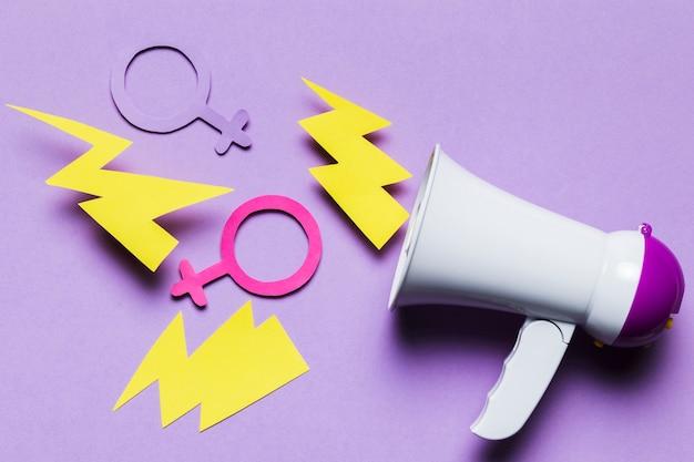 フェミニンで男性的な性別のサインが付いた大きなメガホン