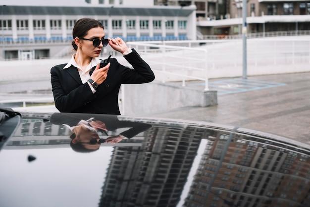 Зона наблюдения охранной женщины