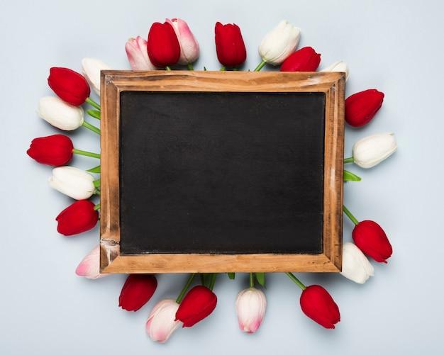 Вид сверху белые и красные тюльпаны вокруг рамки