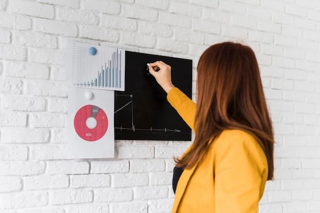 ビジネスの女性が黒板で分析します。