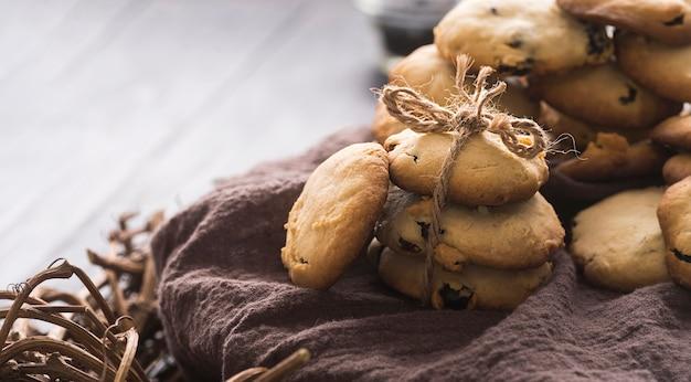 クローズアップの美味しいチョコレートクッキー