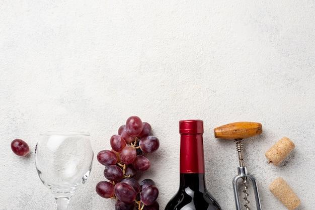 ワインのトップビューオーガニックブドウ