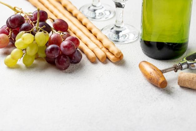 Крупный план органического винограда для вина