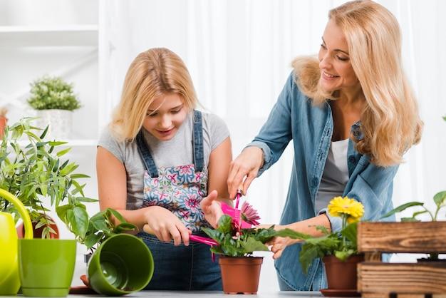 母と娘の花を植えること