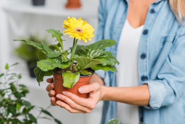 Крупным планом женщина, держащая цветочный горшок
