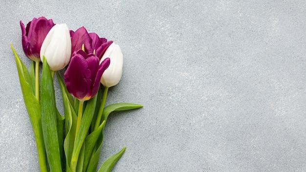 コピースペースとチューリップの花束