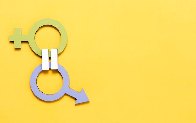Концепция качества зеленый женский и синий мужской пол символов