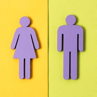 Вид сверху мужчина и женщина символов концепция