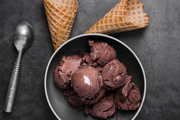 Вид сверху тарелка с шариками шоколадного мороженого и шишки рядом
