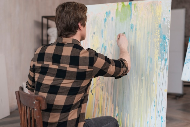 Вид сзади художника, живопись на холсте