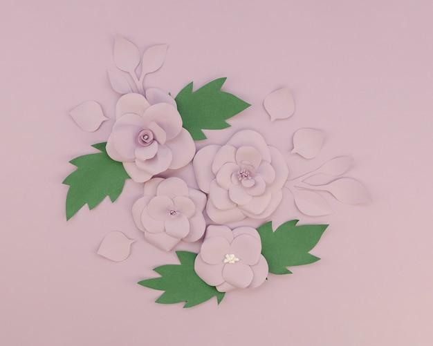 紫色の背景に花飾り