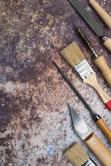 Вид сверху набор инструментов