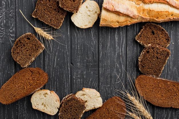 パンのスライスとコピースペースの配置