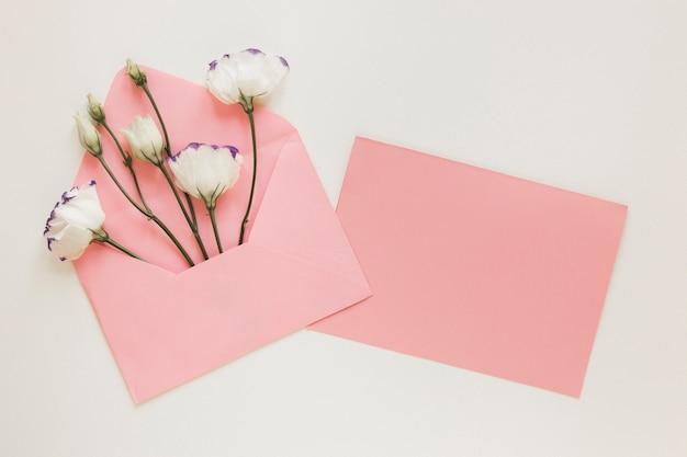 封筒の上面に春の花