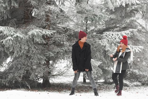 日光の冬に立っている素敵なカップル