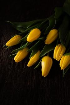 Высокий угол цветущих желтых тюльпанов