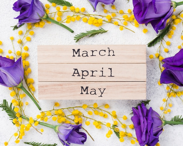 花と春の花のフレーム