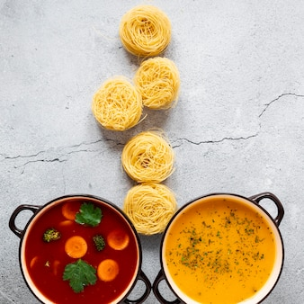 Супы и макароны роллы вид сверху