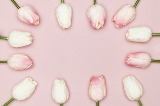 Плоская планировка из тюльпанов на день матери