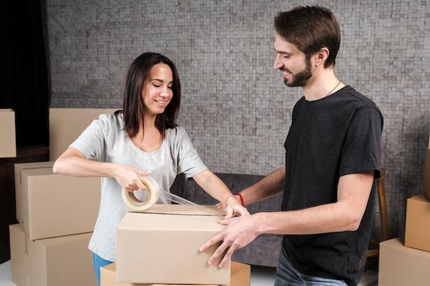 若い家族の移転の準備