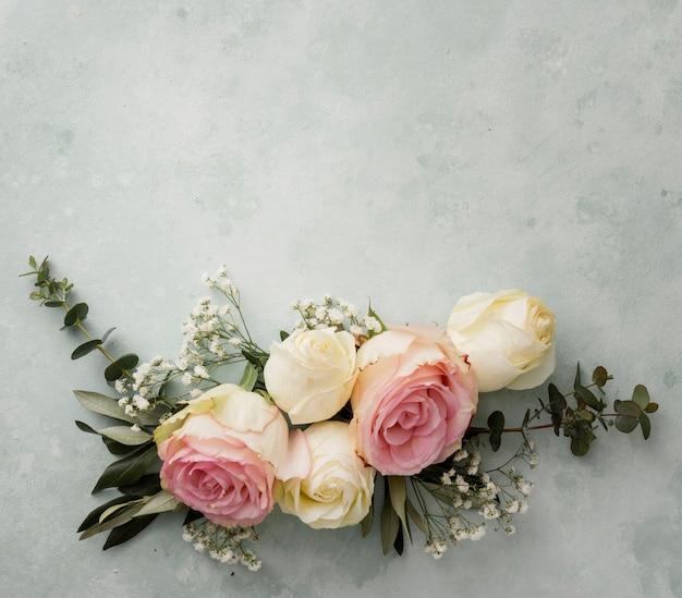 コピースペースの美しい花飾り