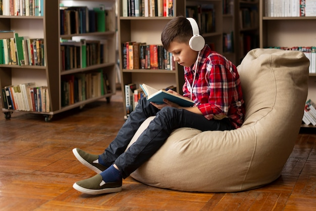 ソファの読書の少年
