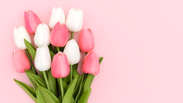 コピースペースを持つチューリップ花束のフラットレイアウト
