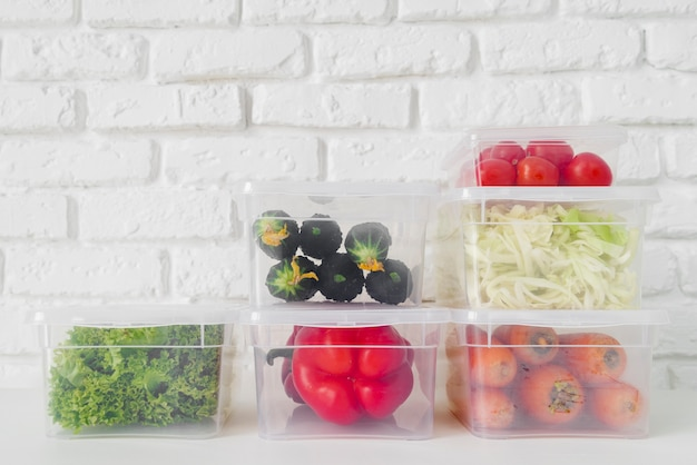 Вид спереди овощей с копией пространства