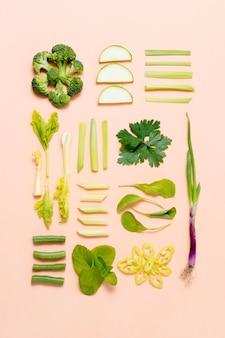 新鮮な野菜のトップビューの品揃え