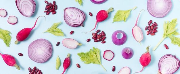 Вид сверху ассортимент свежих овощей