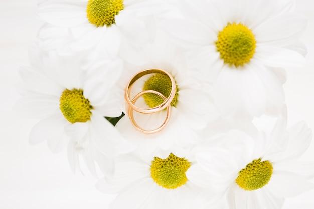 婚約指輪と高角度の花