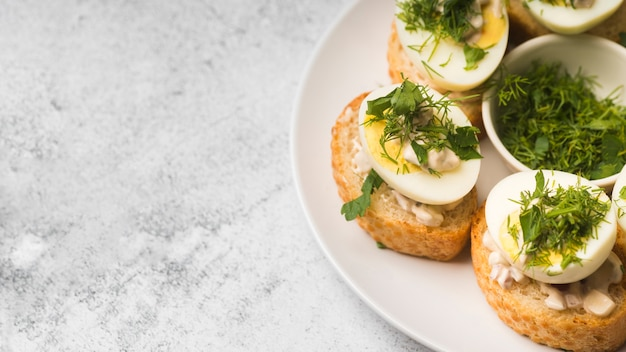 卵前菜とコピースペースプレート